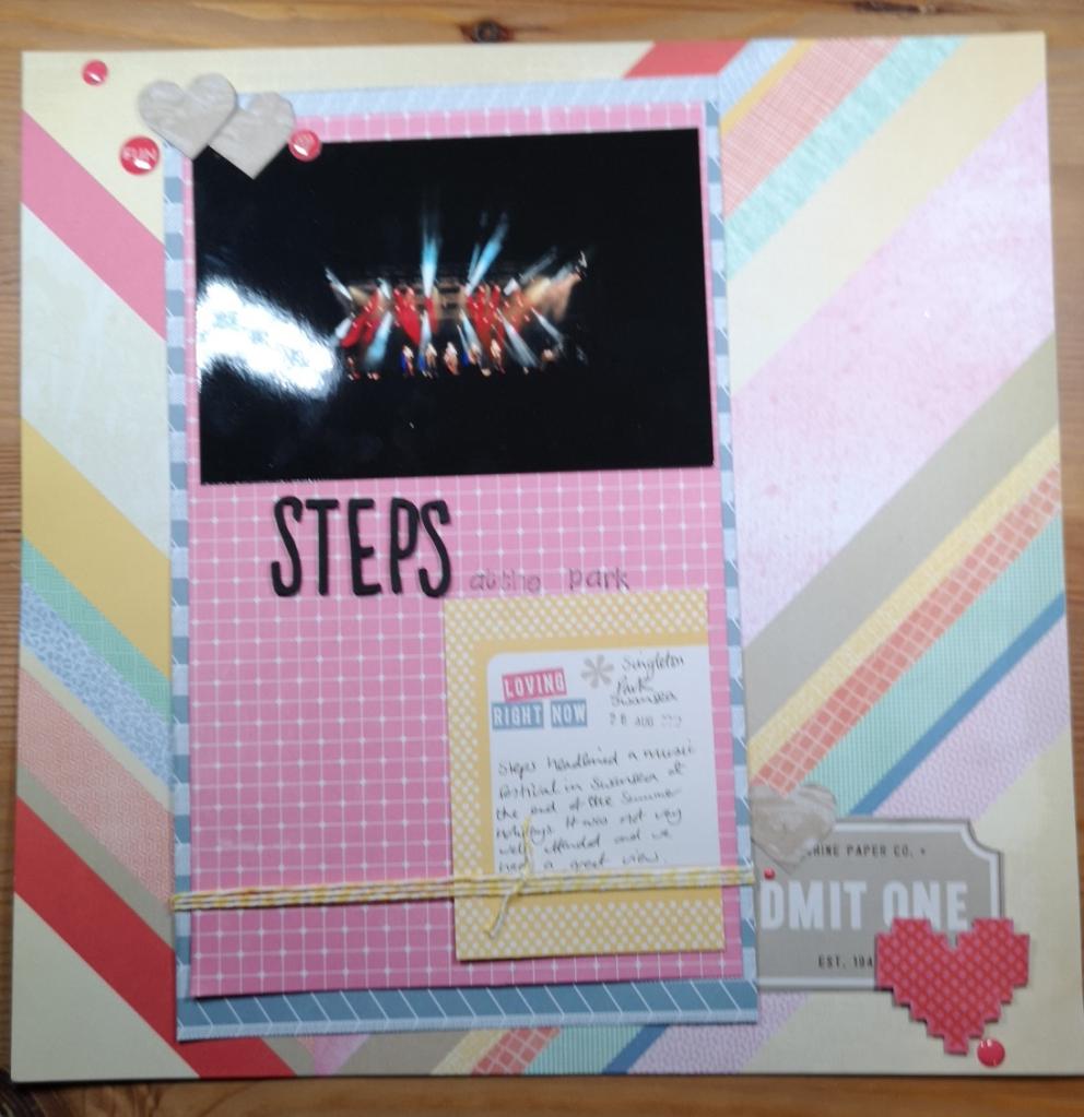 Rachel Howells purplecftr Scrapbook layout page of Steps in Singletone Park Swansea using Amy Tangerine Cut and Paste