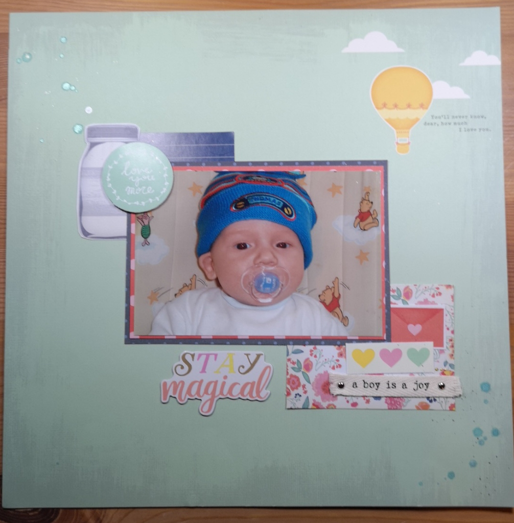Rachel Howells purplecftr Scrapbook page layout using Dear Lizzy Lucky Charm and inspired by Shimelle clear the desk course