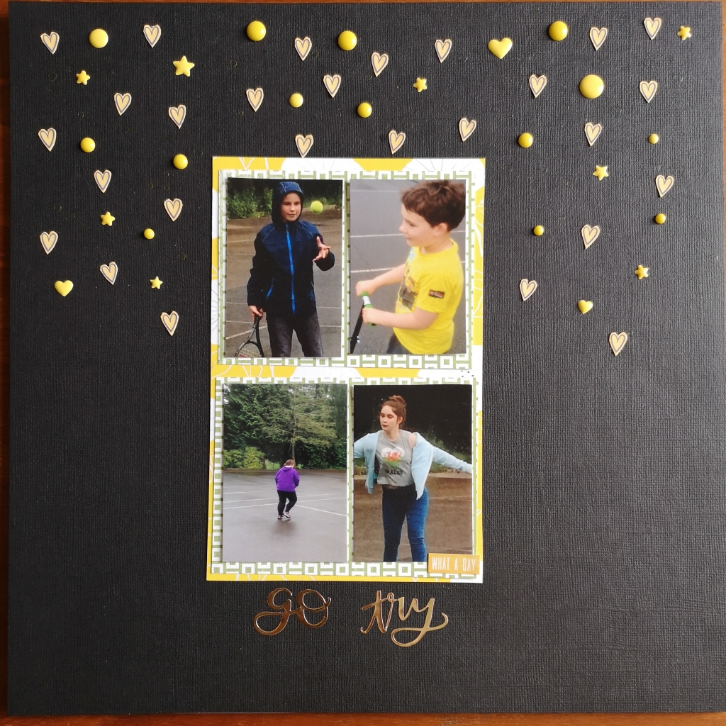 Black Scrapbook layout page with yellow embelishments showing playing tennis in the rain