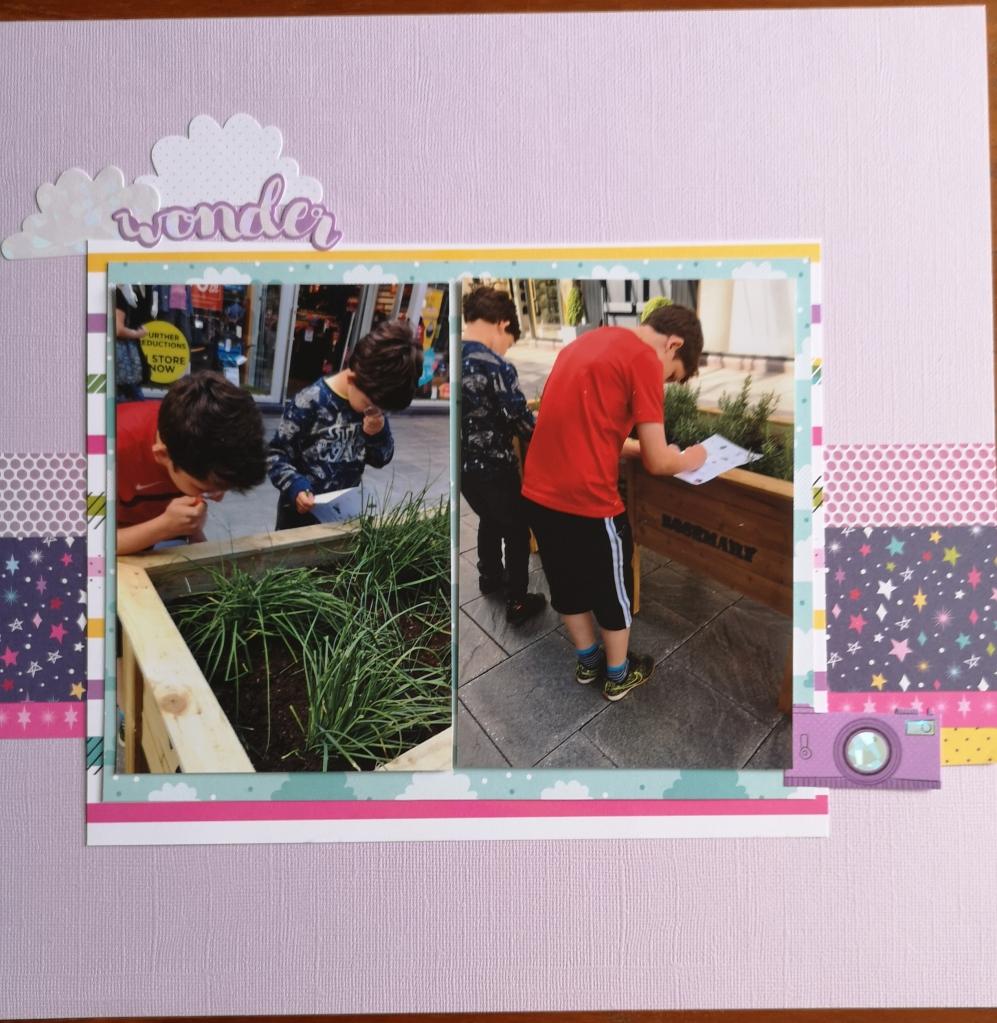 Scrapbook layout page at Bridgend Designer Outlet Village using Shimelle's Glitter Girl collection