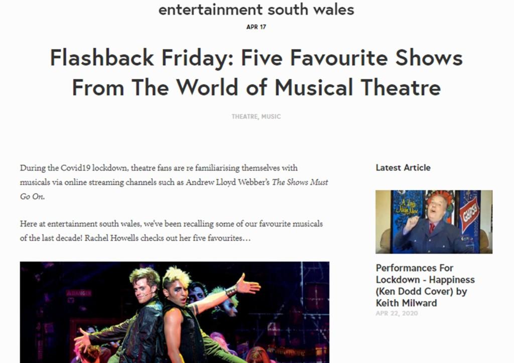 5 favourite musicals on entertainmentsouthwales.com